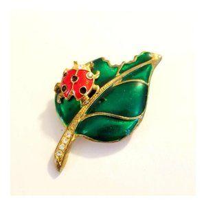 """Vintage Enamel Leaf with Ladybug Brooch  2"""" Long"""